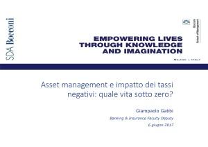 Asset management e impatto dei tassi negativi