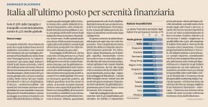 Italia all'ultimo posto per serenità finanziaria